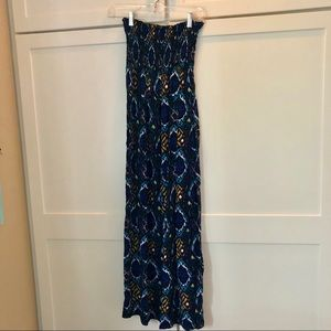 Dresses & Skirts - Long strapless dress stretch scrunched top Boho